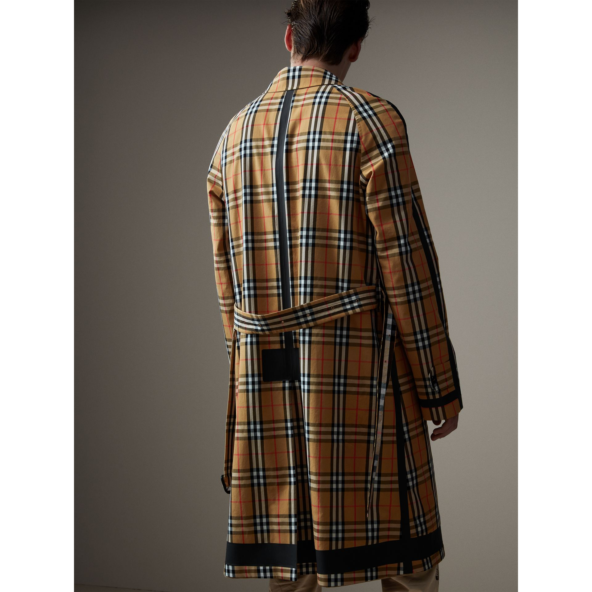 Reversible Vintage Check Gabardine Car Coat in Antique Yellow - Men | Burberry United States - gallery image 3