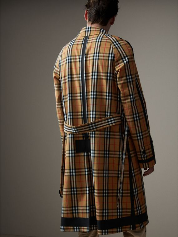 Reversible Vintage Check Gabardine Car Coat in Antique Yellow - Men | Burberry United States - cell image 2