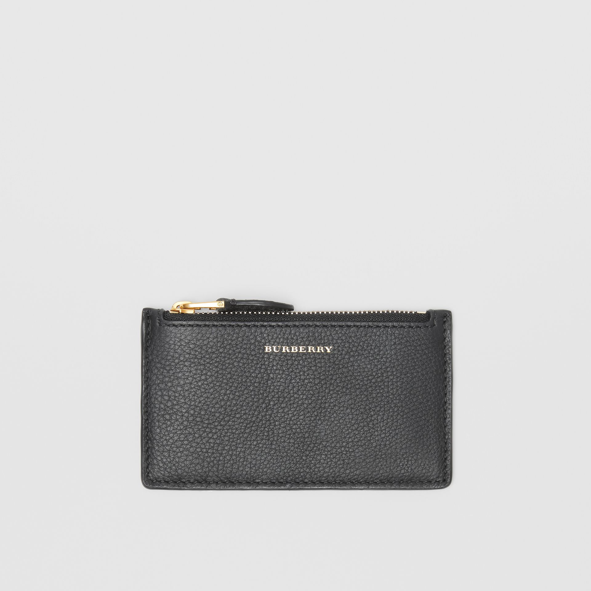 Two-tone Leather Zip Card Case in Black | Burberry Singapore - gallery image 0
