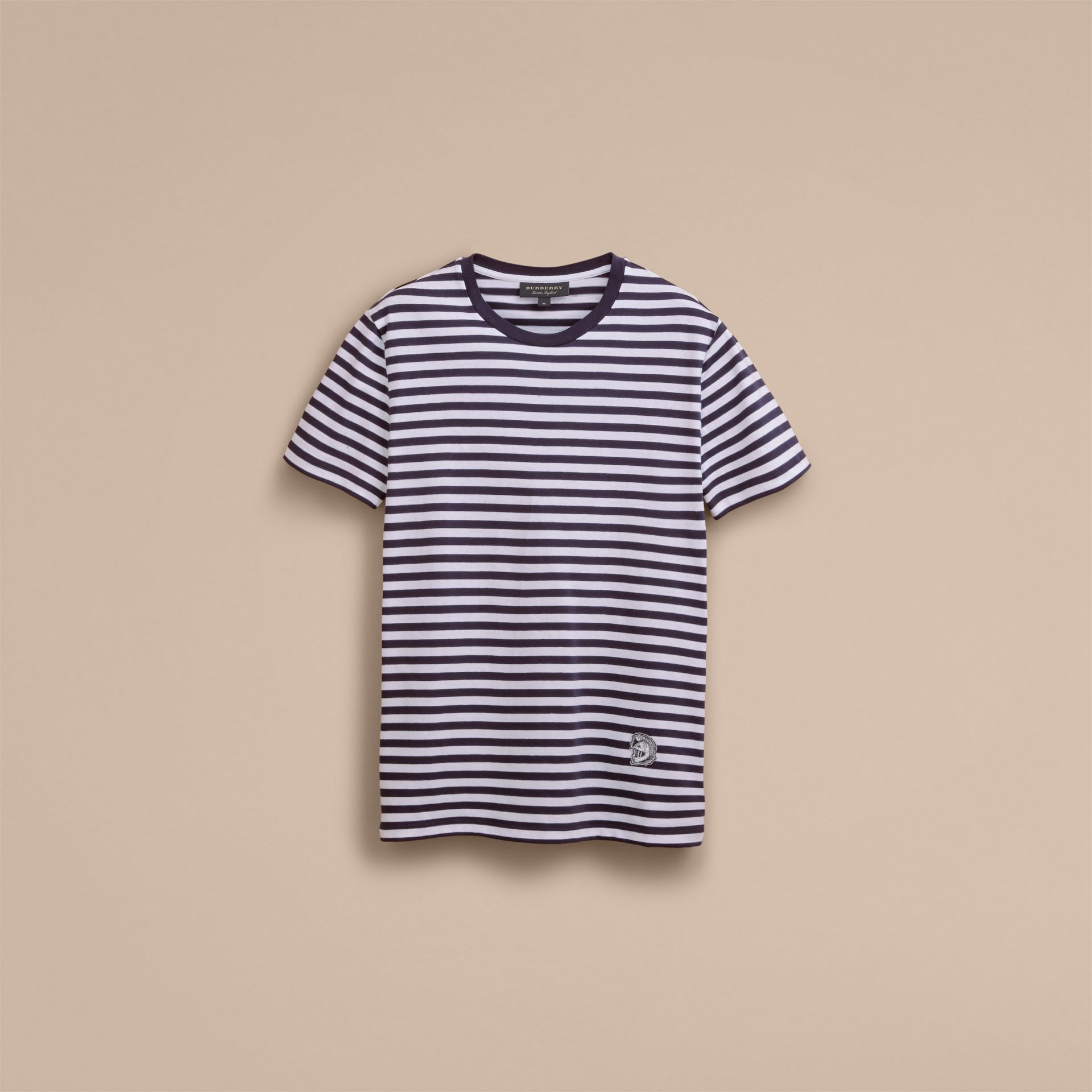 Breton Stripe Cotton T-shirt with Pallas Helmet Motif in Navy/white - Men | Burberry - gallery image 4