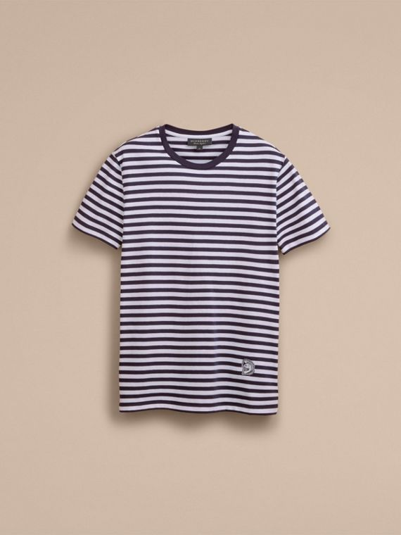 Breton Stripe Cotton T-shirt with Pallas Helmet Motif in Navy/white - Men | Burberry - cell image 3