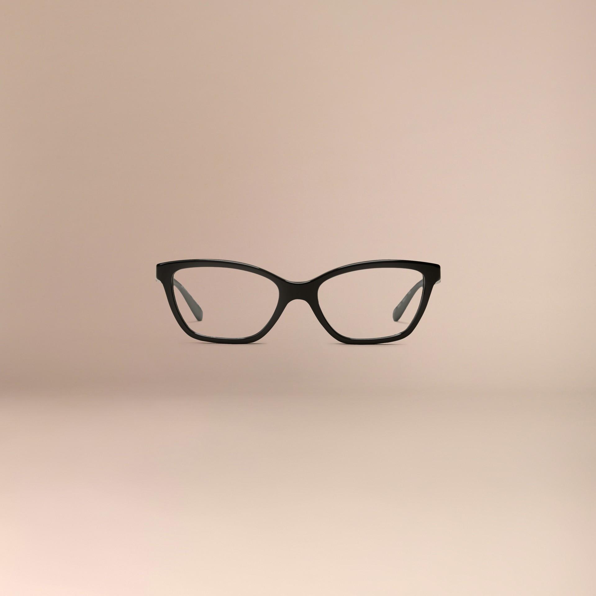 Black Check Detail Cat-eye Optical Frames Black - gallery image 3