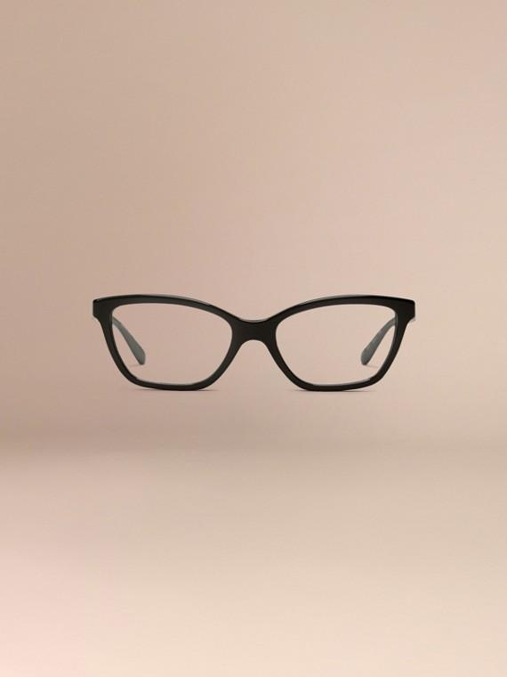 Black Check Detail Cat-eye Optical Frames Black - cell image 2