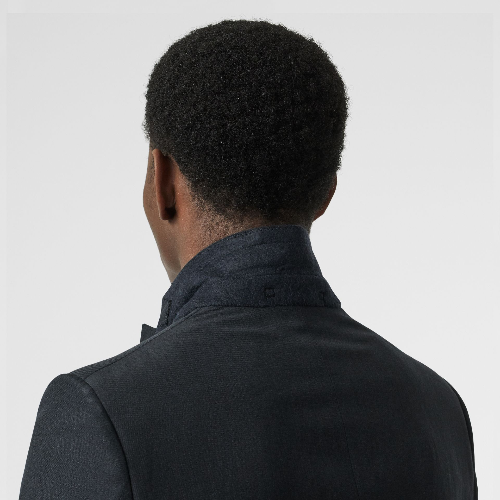 Classic Fit Mohair Linen Silk Tailored Jacket in Navy - Men | Burberry - gallery image 5