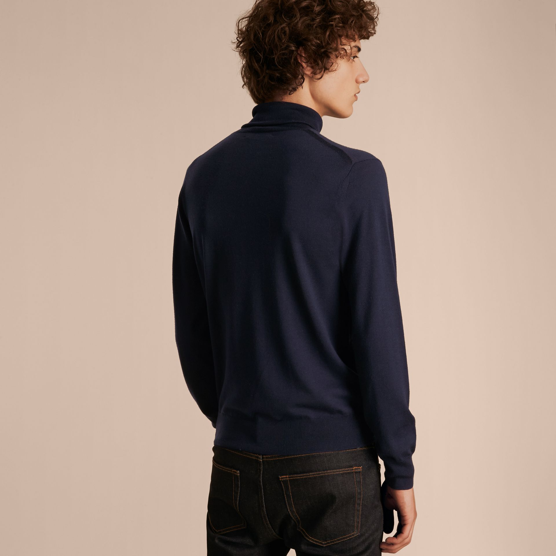 Navy Merino Wool Roll-neck Sweater Navy - gallery image 3