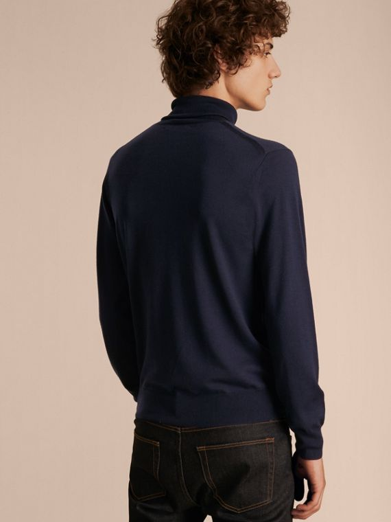 Navy Merino Wool Roll-neck Sweater Navy - cell image 2