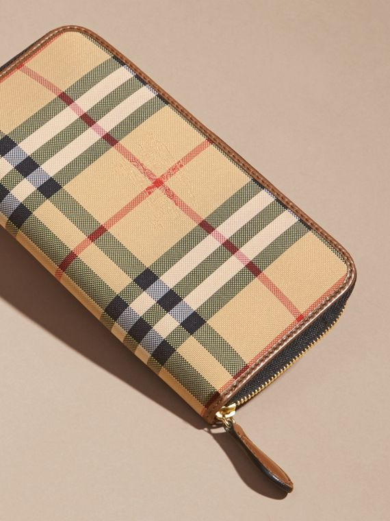 Horseferry Check and Leather Ziparound Wallet in Tan - Women | Burberry - cell image 3