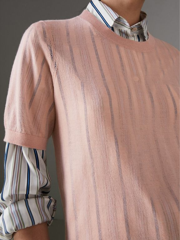 Short-sleeve Cashmere Sweater in Thistle Pink - Women | Burberry United States - cell image 1