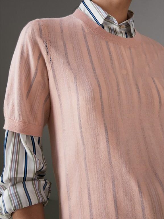 Blusa de manga curta em cashmere (Rosa Cardo) - Mulheres | Burberry - cell image 1