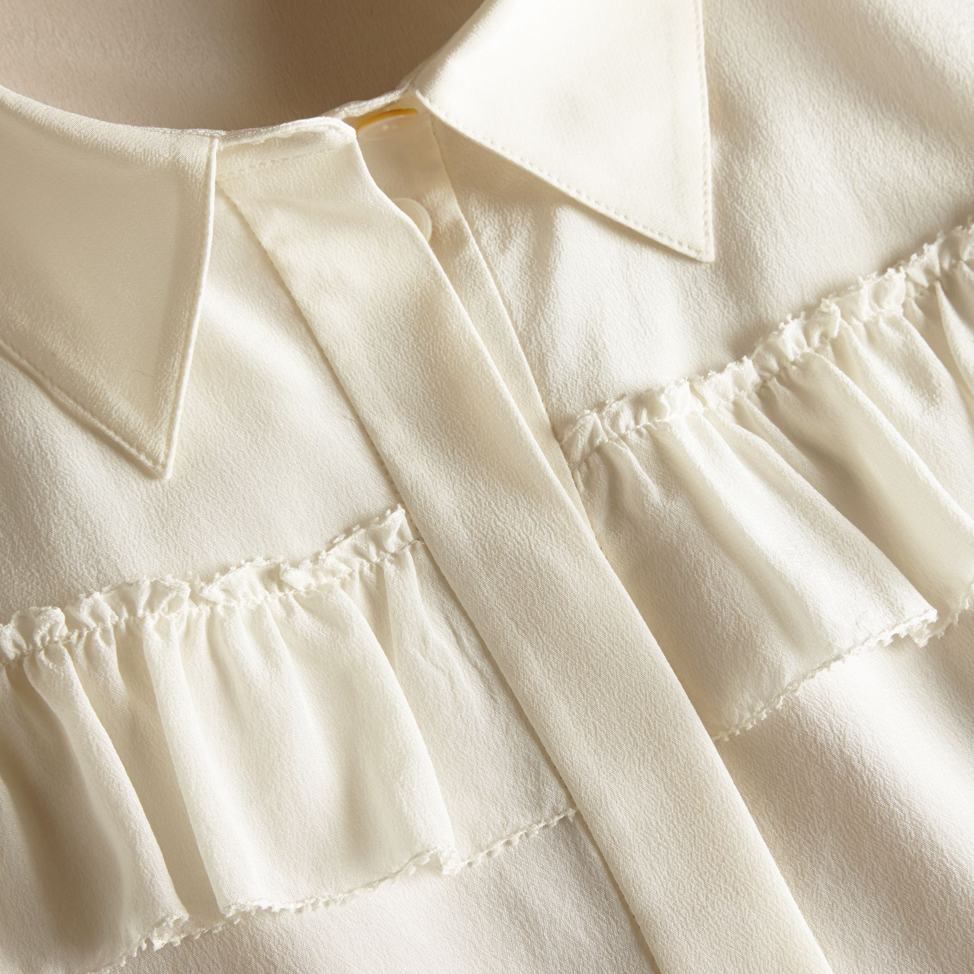 Frill Detail Silk Crepe De Chine Shirt in Natural White - gallery image 2