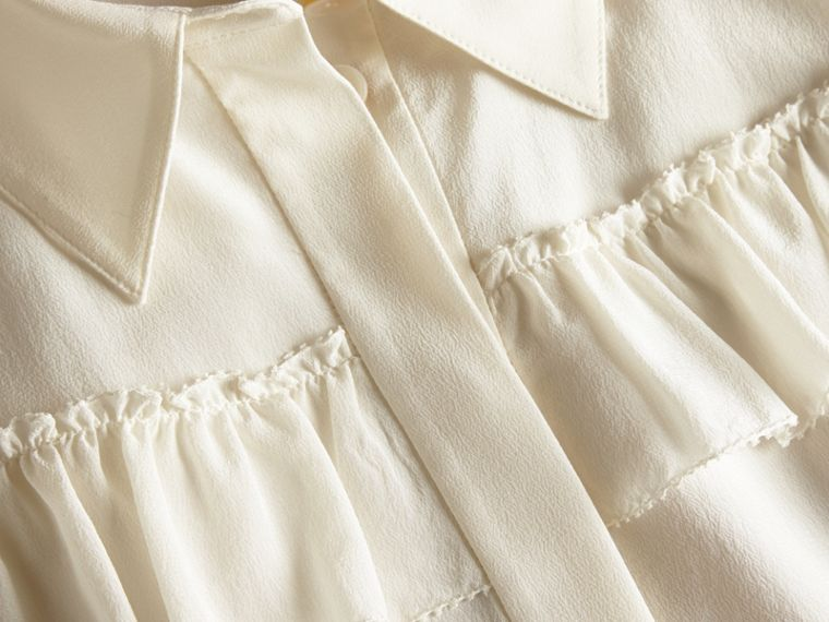 Frill Detail Silk Crepe De Chine Shirt in Natural White - cell image 1