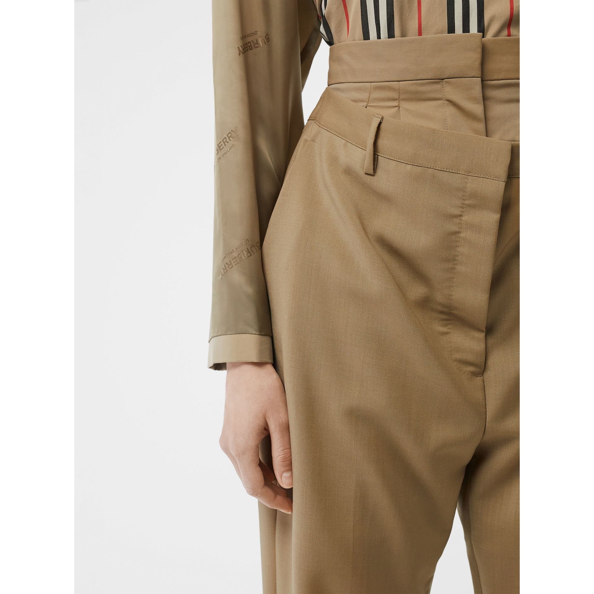 Double-waist Mohair Wool Trousers in Honey - Women | Burberry United States - gallery image 1