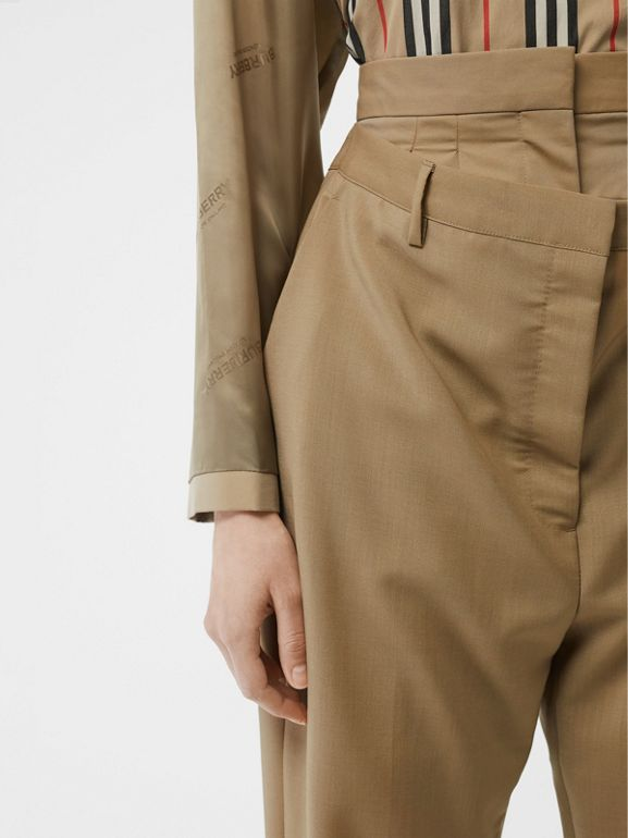 Double-waist Mohair Wool Trousers in Honey - Women | Burberry - cell image 1