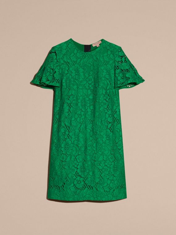Macramé Lace Short Shift Dress with Ruffle Sleeves Kelly Green - cell image 3
