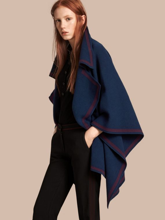 Wool Cashmere Blend Poncho Ink Blue/burgundy