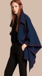 Wool Cashmere Blend Poncho
