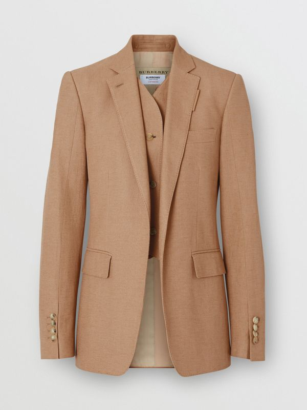 Vest Detail Cotton Linen Tailored Jacket in Ceramic Brown - Women | Burberry - cell image 3