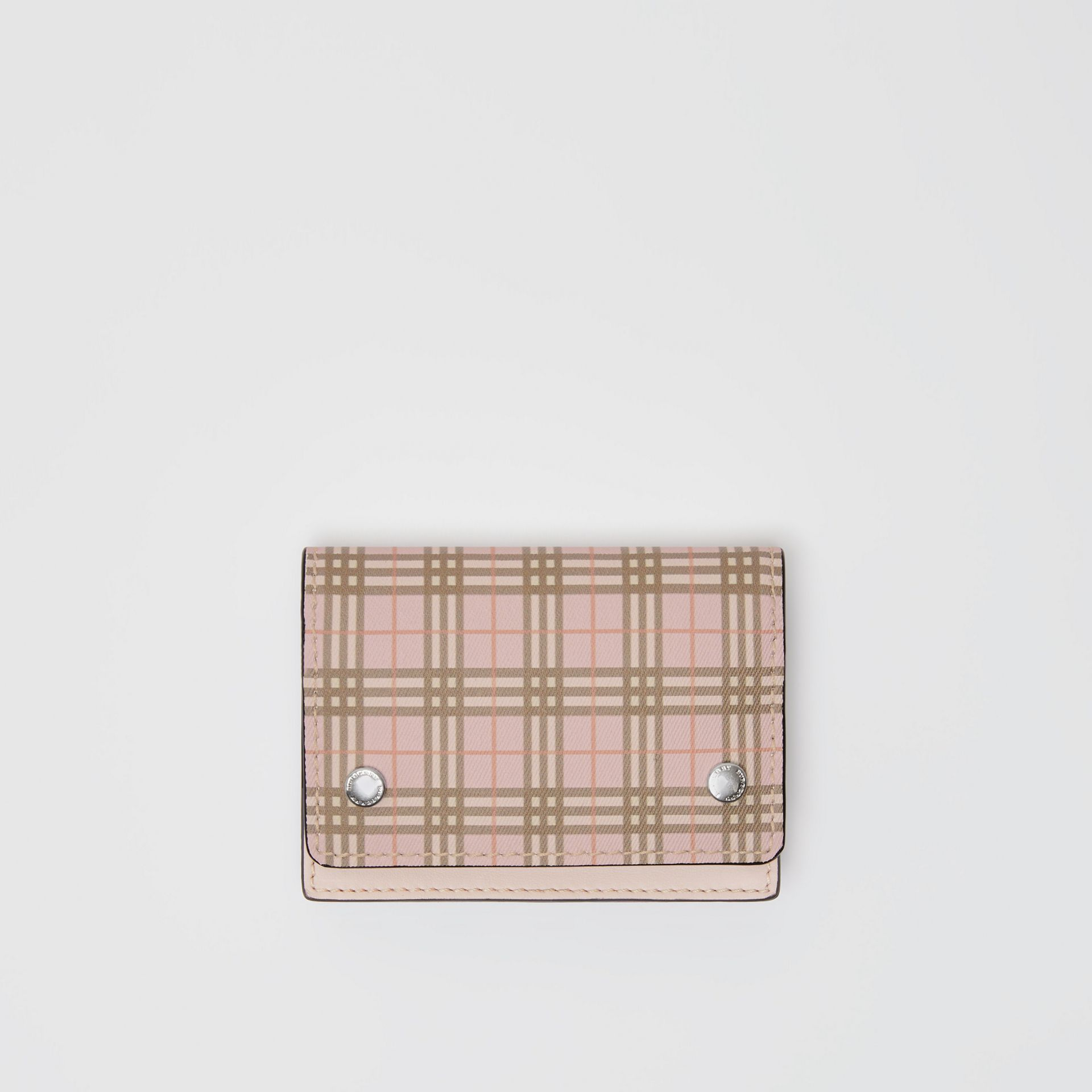 Small Scale Check and Leather Folding Card Case in Ice Pink - Women | Burberry - gallery image 0