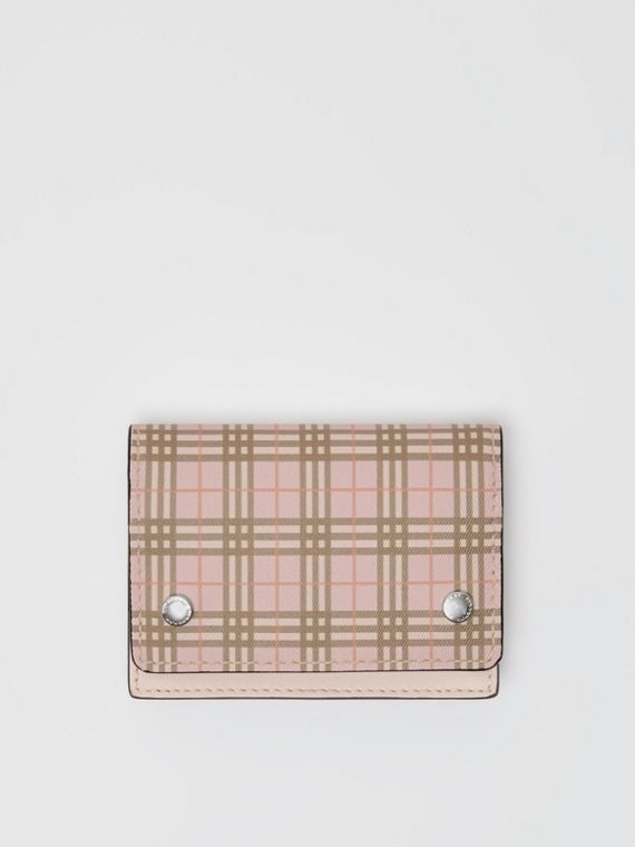 Small Scale Check and Leather Folding Card Case in Ice Pink
