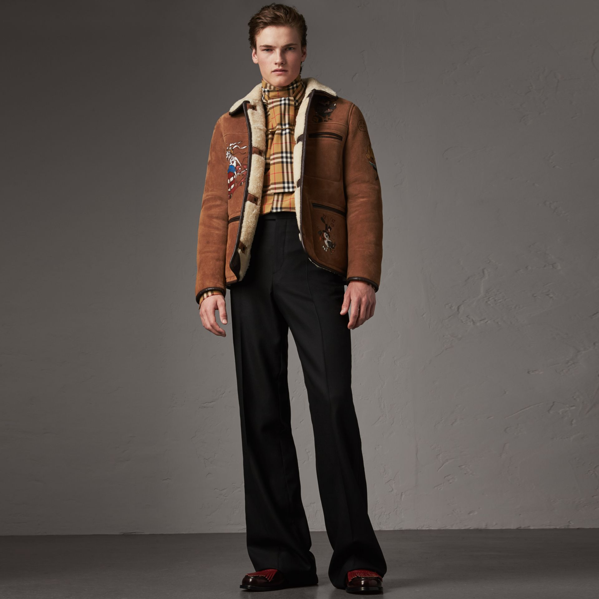 Sketch Print Shearling Jacket in Biscuit - Men | Burberry United Kingdom - gallery image 0