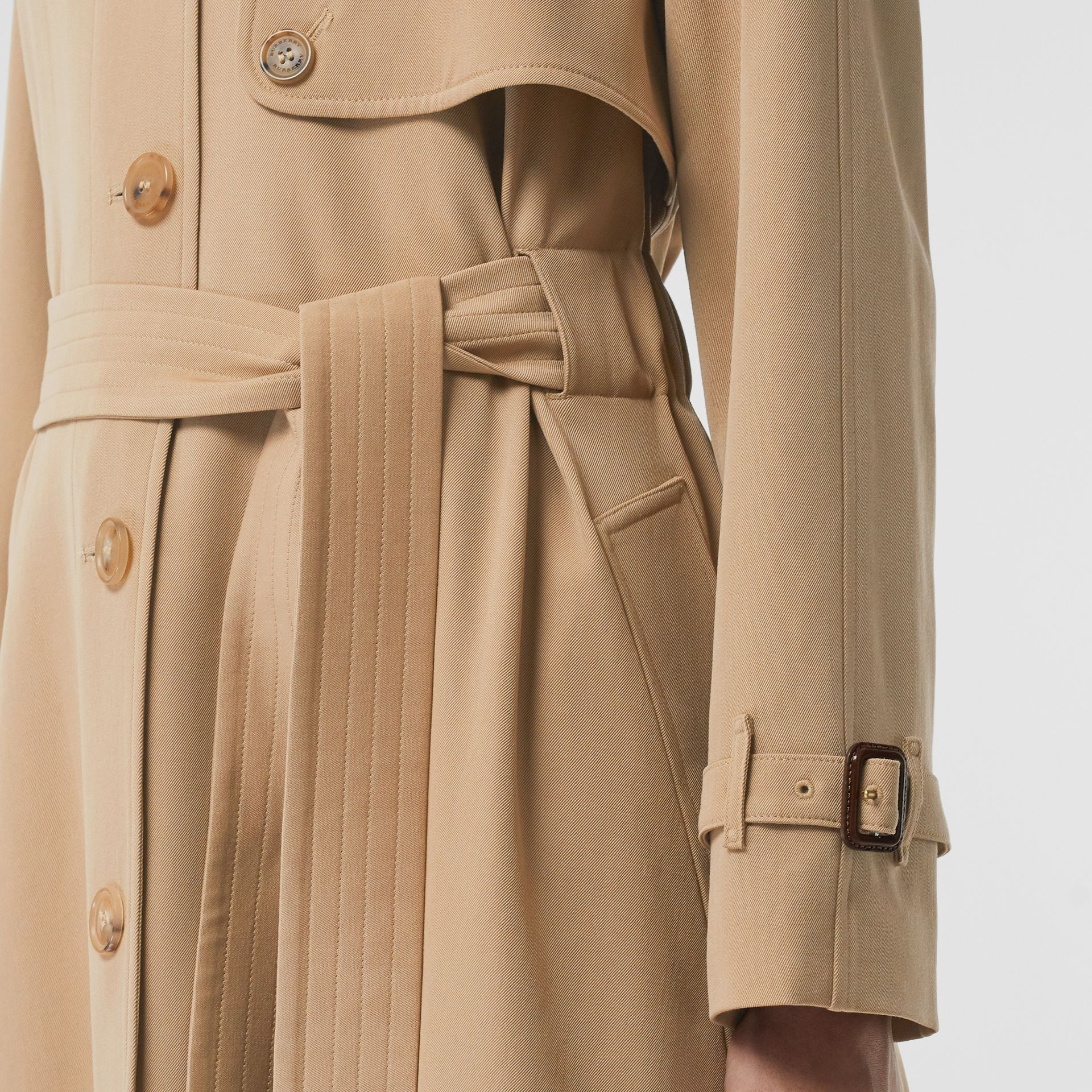 Wool Gabardine Trench Coat in Honey - Women | Burberry United States - gallery image 4