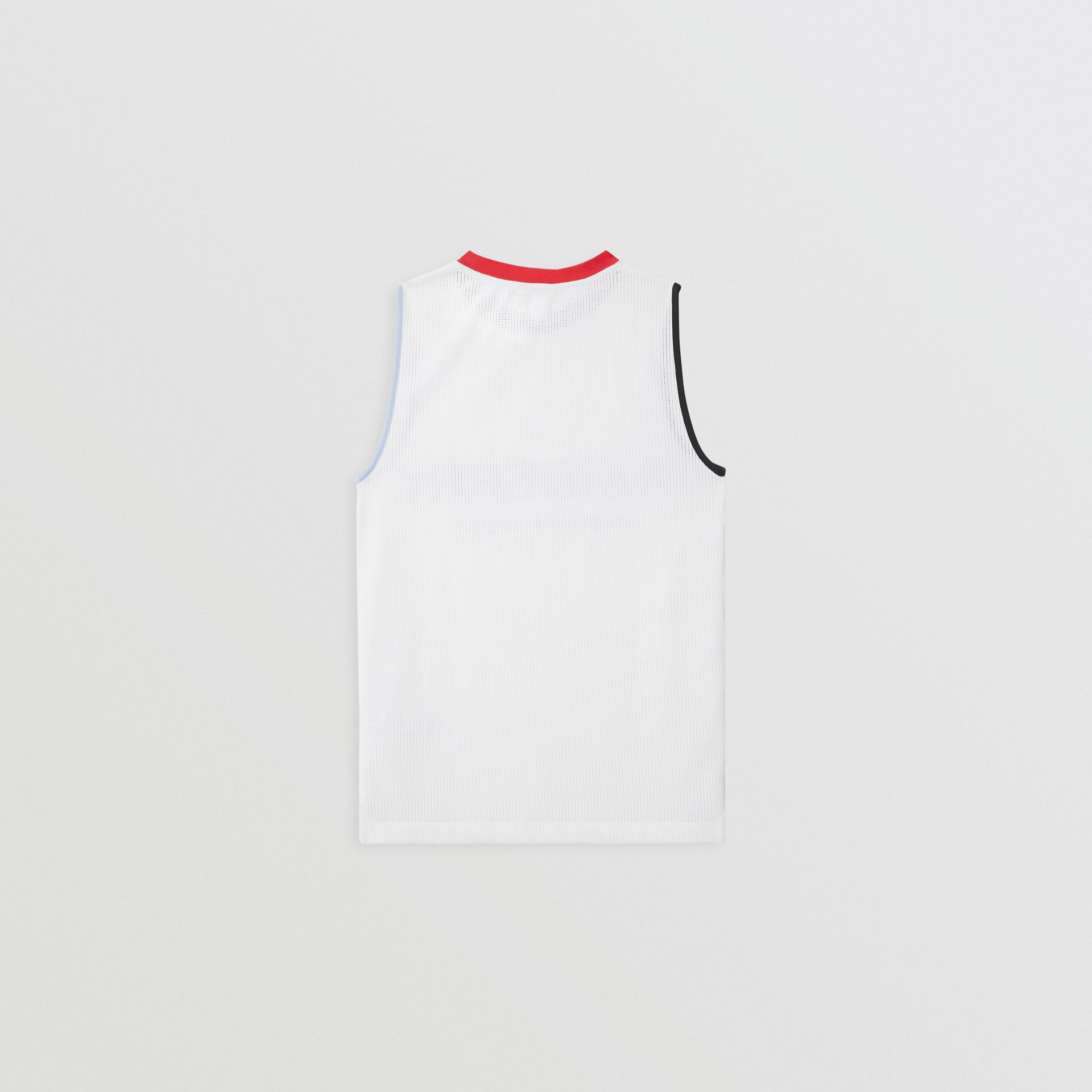 Logo Print Mesh Vest in White | Burberry Singapore - gallery image 3