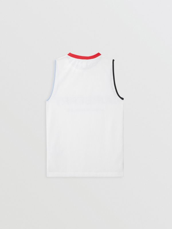Logo Print Mesh Vest in White | Burberry - cell image 3
