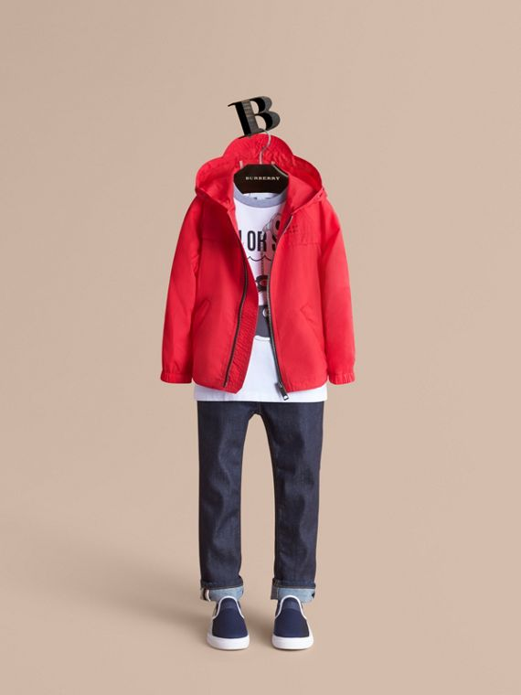 Showerproof Hooded Technical Jacket in Vibrant Red - Boy | Burberry