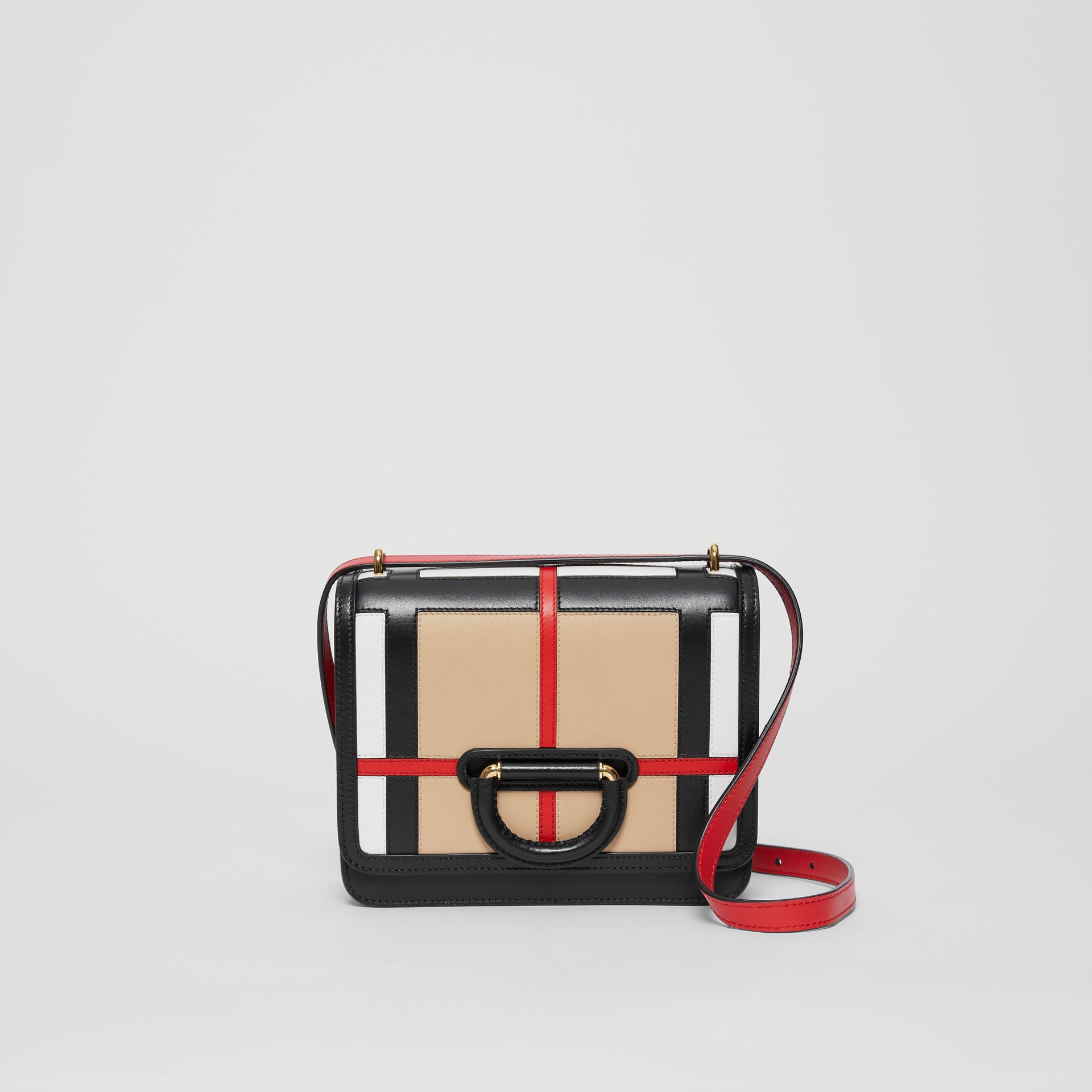 The Small Check Intarsia Leather D-ring Bag in Black - Women | Burberry - gallery image 0