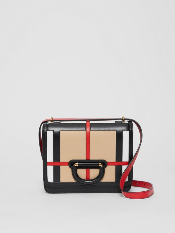 The Small Check Intarsia Leather D-ring Bag in Black