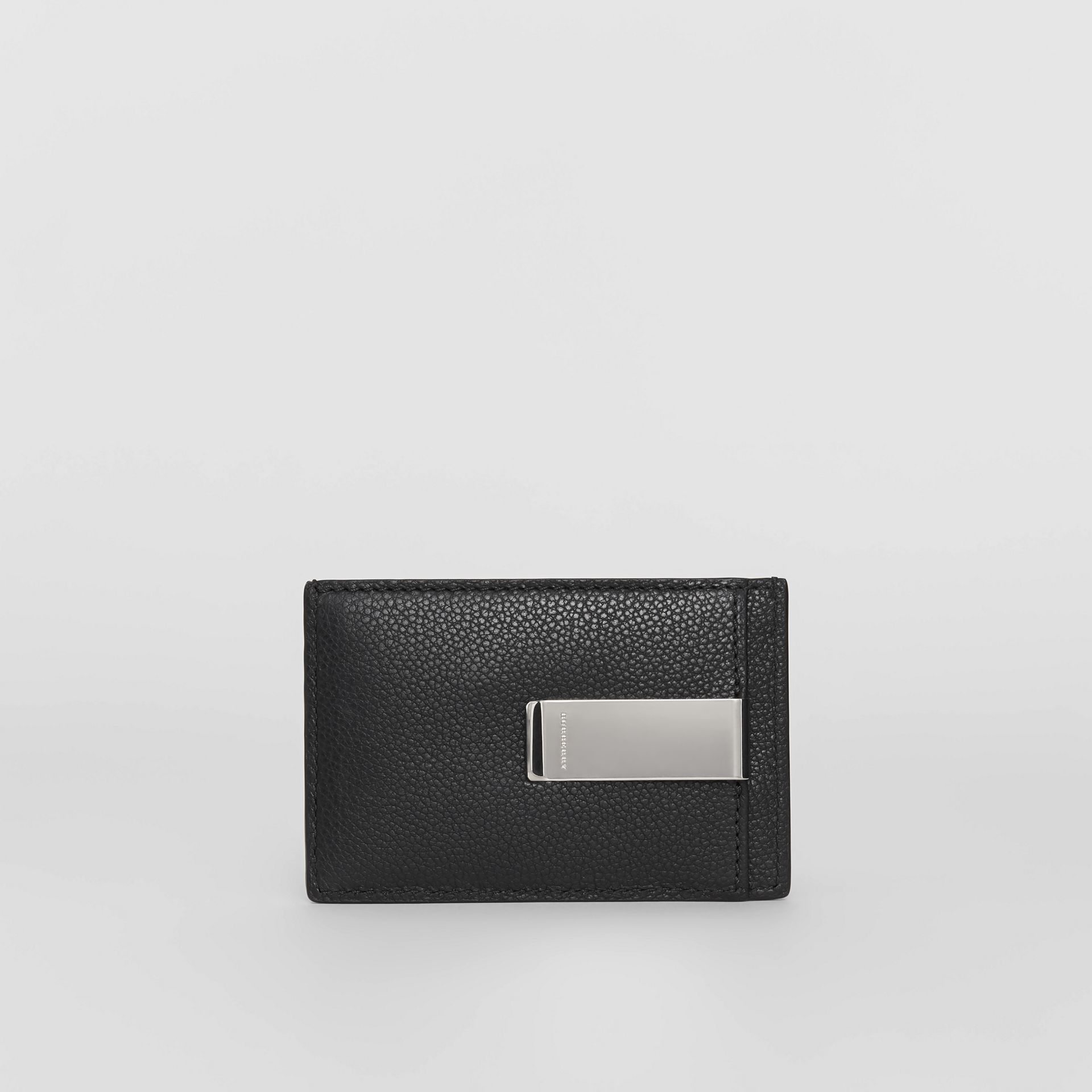 Grainy Leather Money Clip Card Case in Black - Men | Burberry - gallery image 5