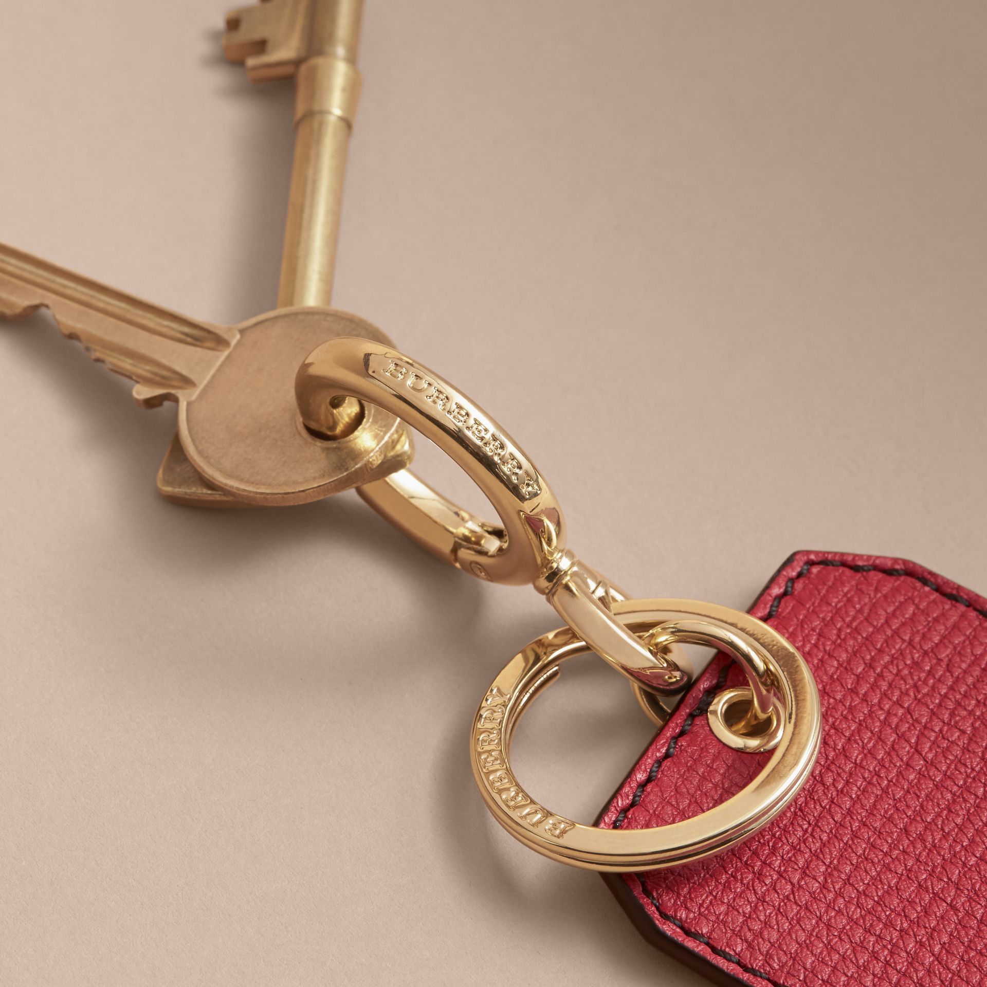 Leather Key Charm in Parade Red - Women | Burberry - gallery image 3