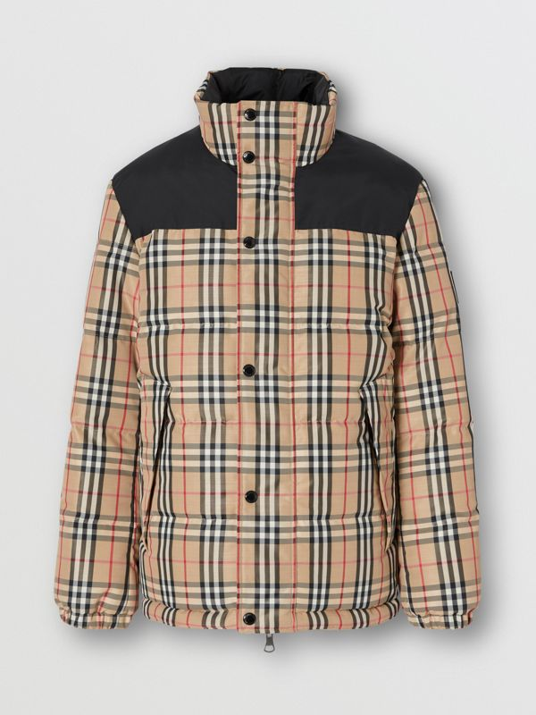 Reversible Vintage Check Recycled Polyester Jacket in Archive Beige - Men | Burberry - cell image 3