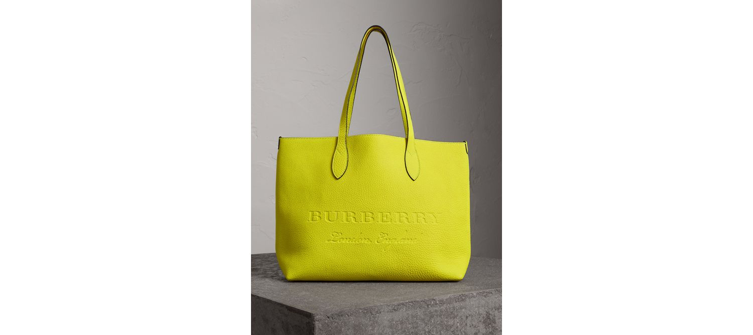 Embossed Leather Tote in Neon Yellow
