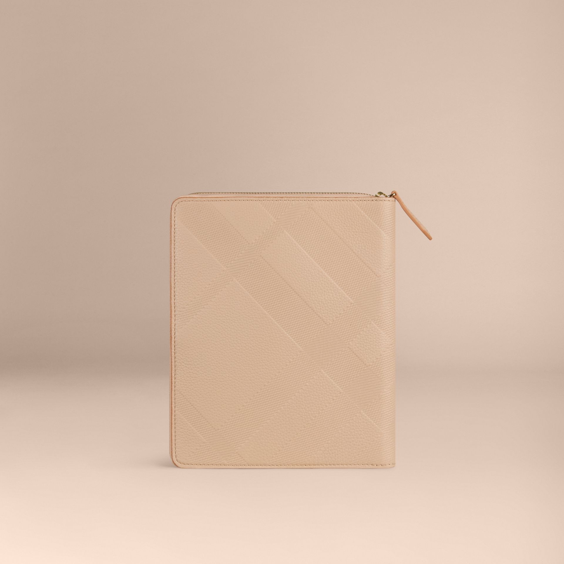 Pale apricot Ziparound Check-Embossed Leather A5 Notebook Pale Apricot - gallery image 4