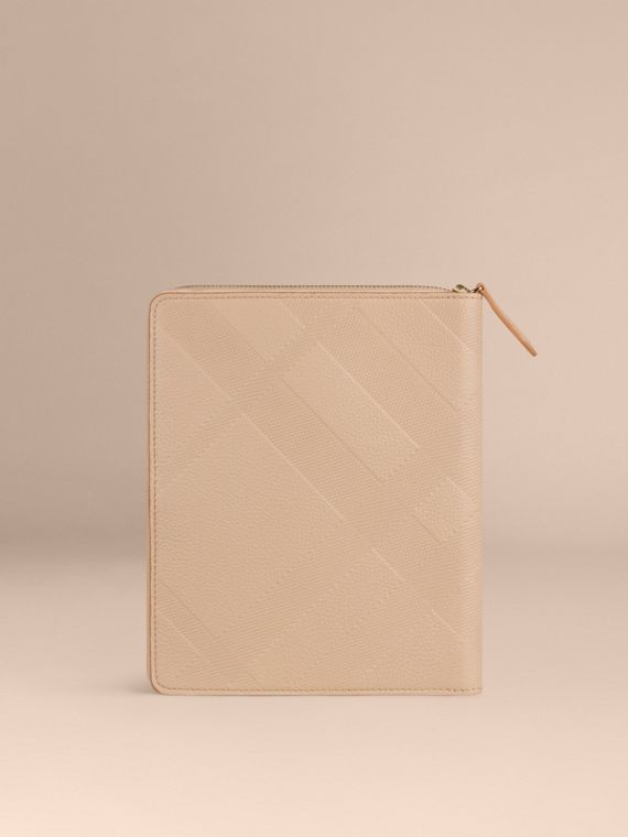Pale apricot Ziparound Check-Embossed Leather A5 Notebook Pale Apricot - cell image 3