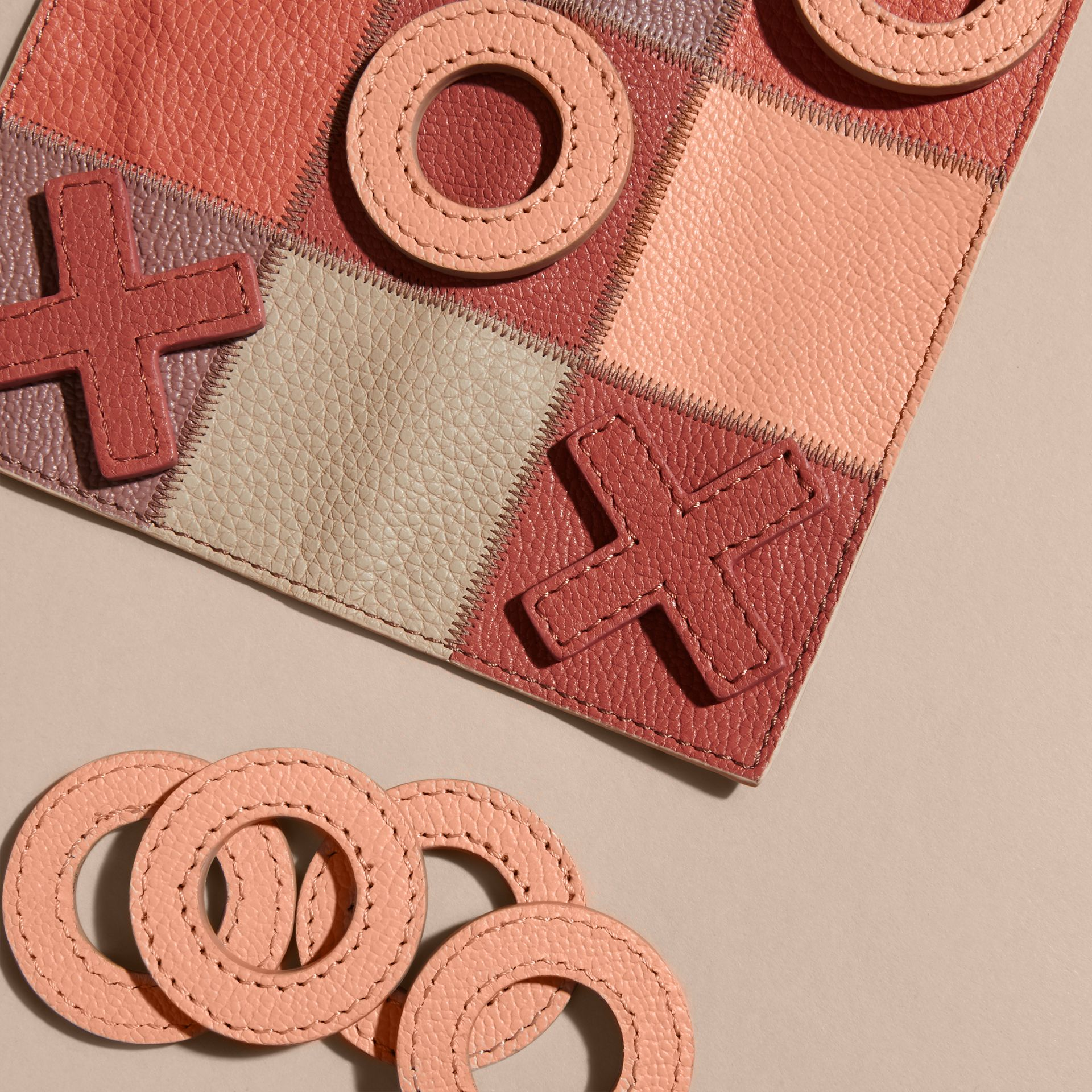 Leather Noughts and Crosses Set and Case in Pink Apricot | Burberry - gallery image 3