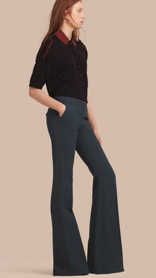 Pantalon bootcut en laine et soie