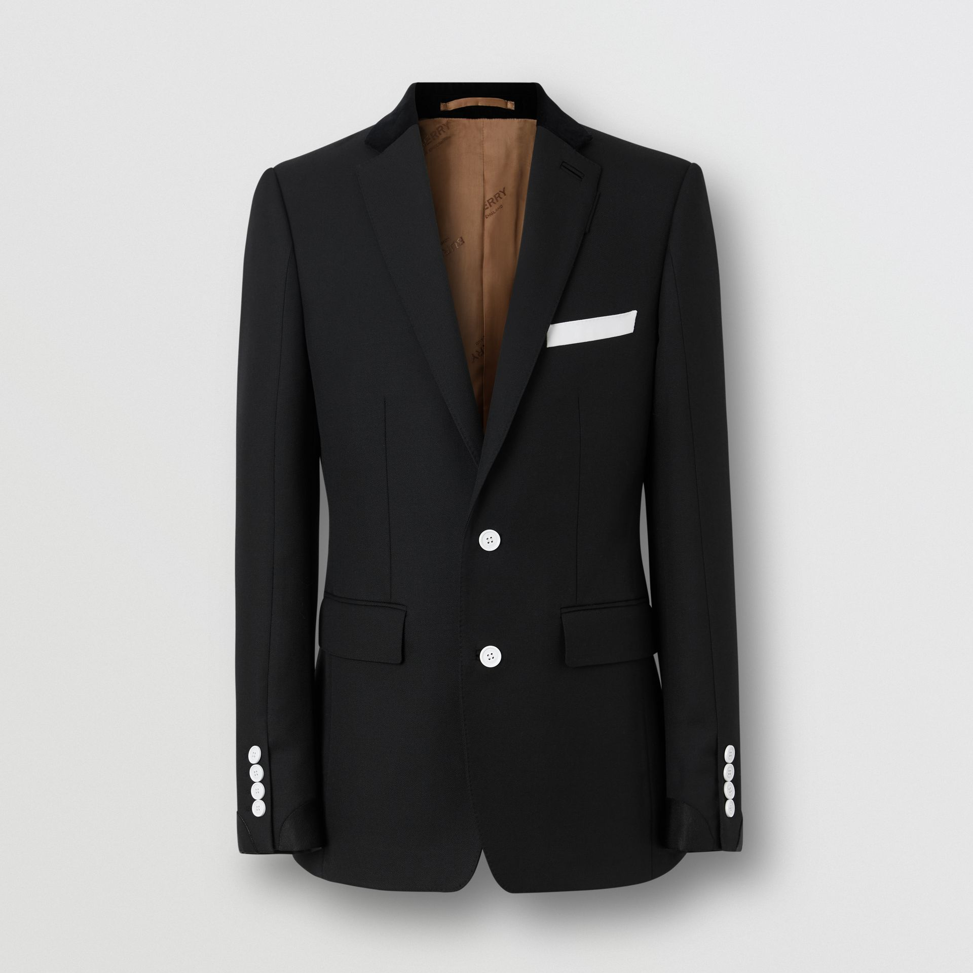 English Fit Velvet Collar Wool Tailored Jacket in Black - Men | Burberry - gallery image 3