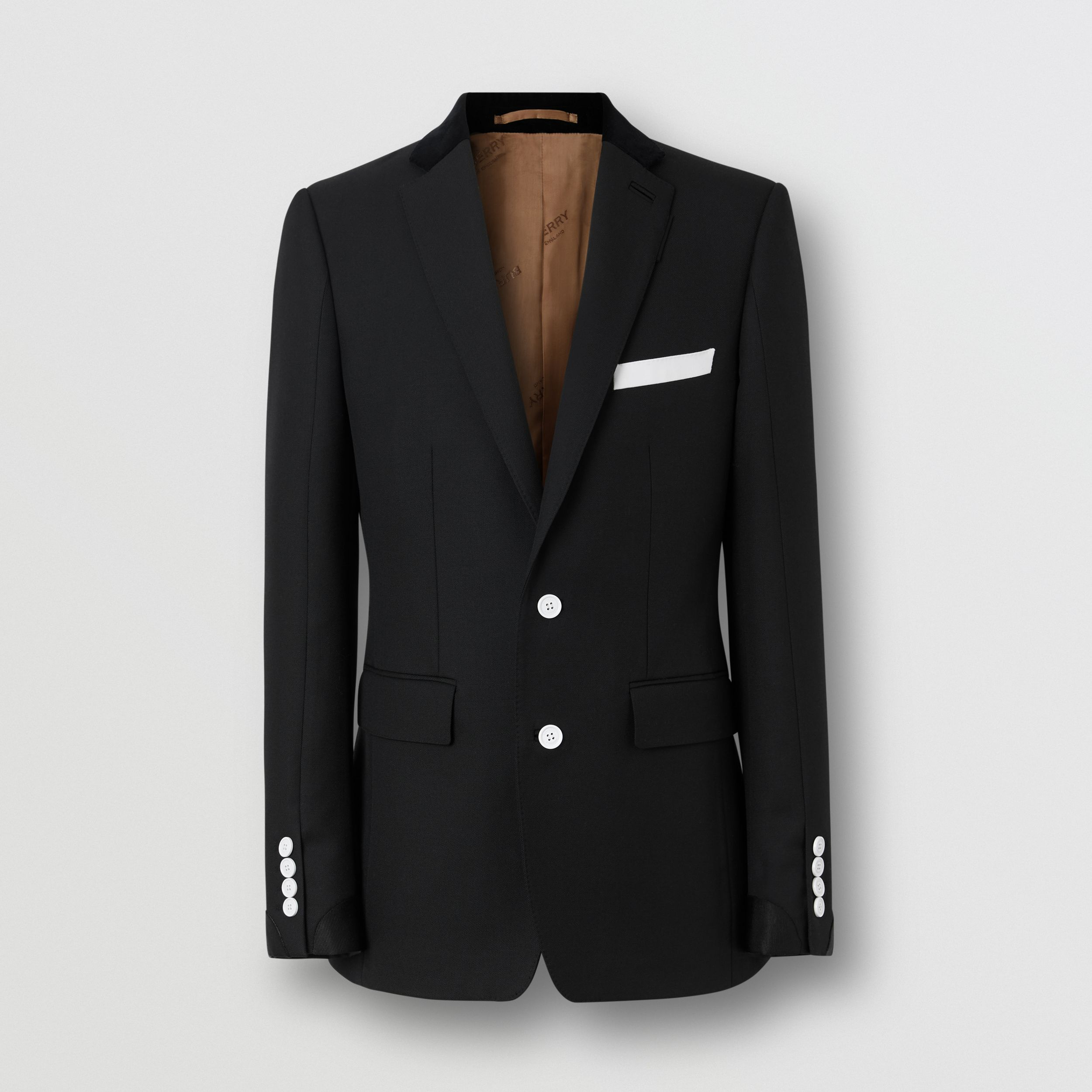 English Fit Velvet Collar Wool Tailored Jacket in Black - Men | Burberry - 4