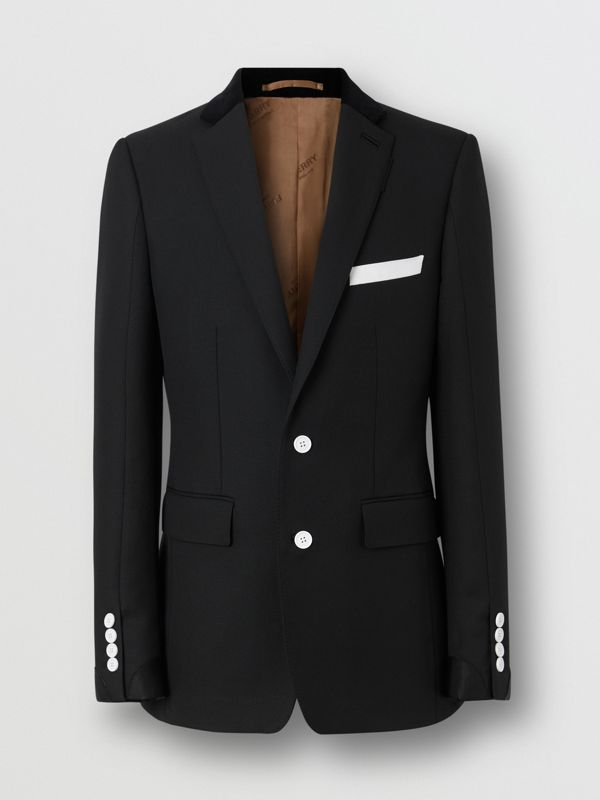 English Fit Velvet Collar Wool Tailored Jacket in Black - Men | Burberry - cell image 3