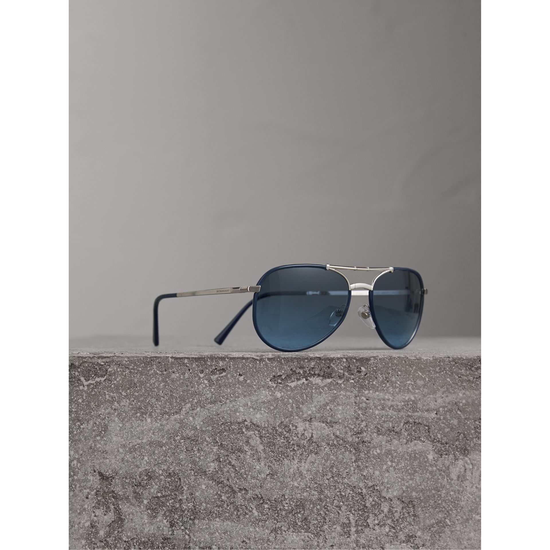 Folding Pilot Sunglasses in Navy - Men | Burberry - gallery image 1