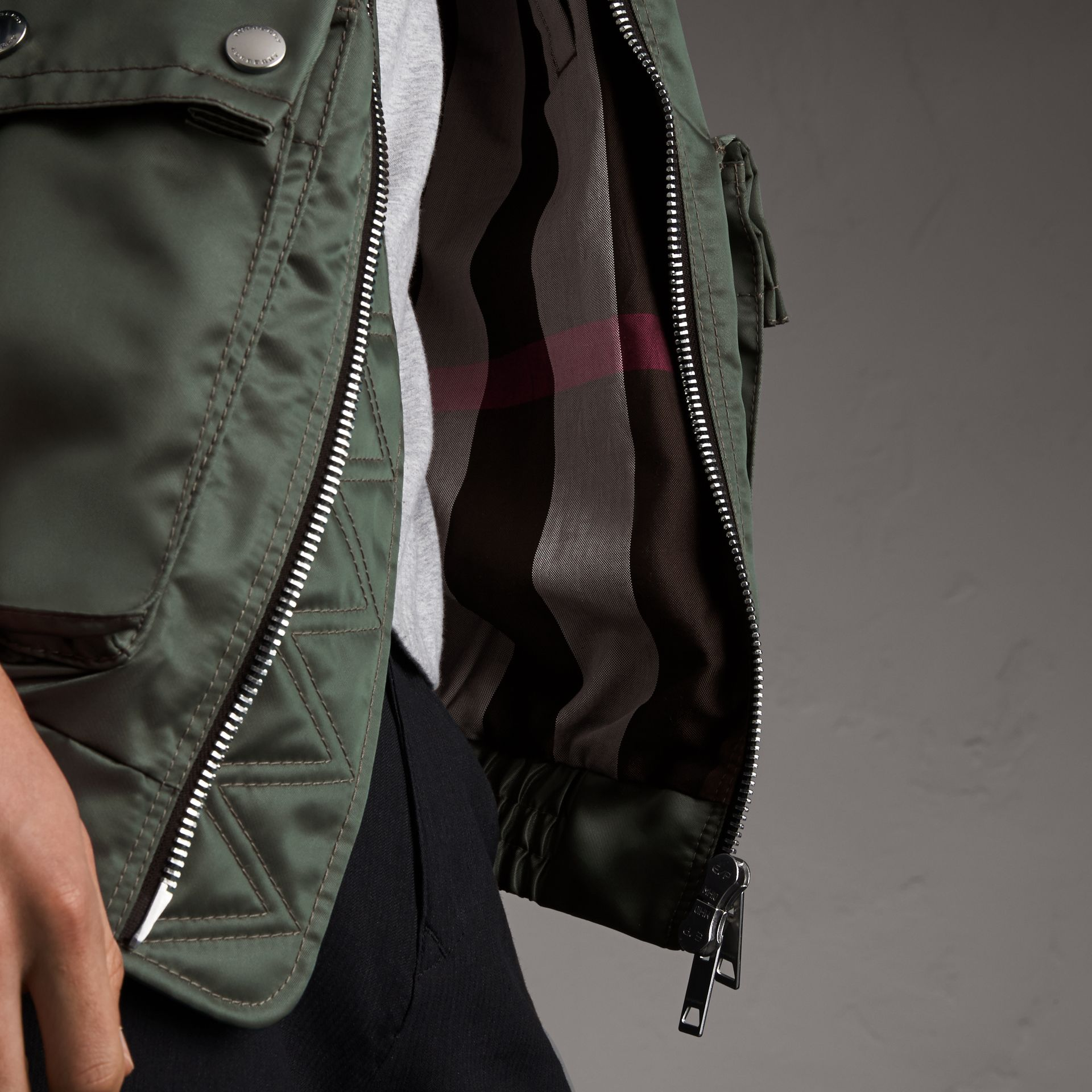 Contrast Collar Lightweight Flying Jacket in Storm Green - Men | Burberry - gallery image 5