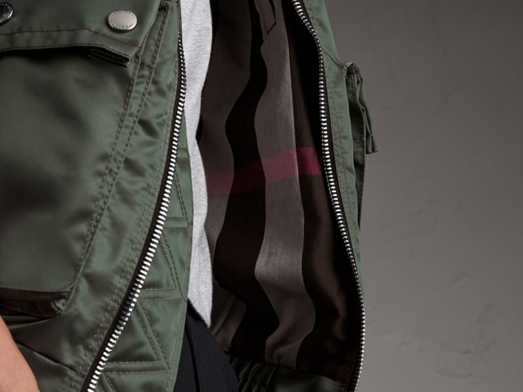 Contrast Collar Lightweight Flying Jacket in Storm Green - Men | Burberry - cell image 4