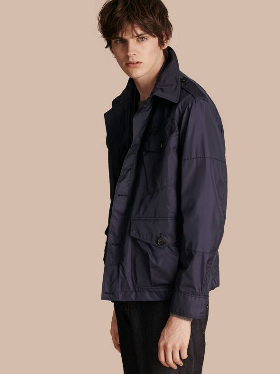 Silk Blend Field Jacket with Detachable Warmer