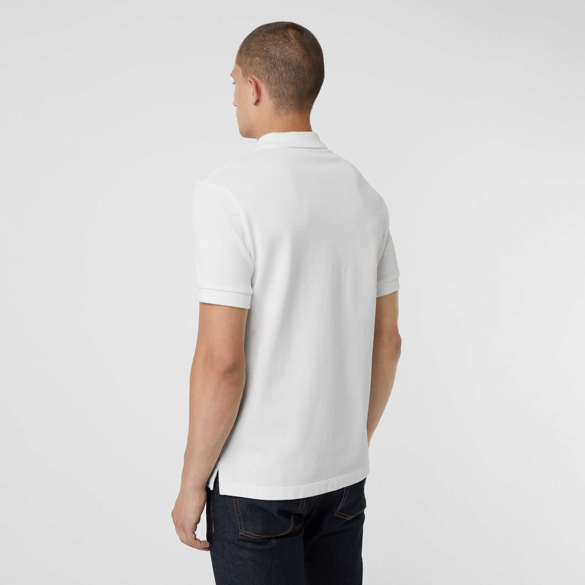 Check Placket Cotton Polo Shirt in White - Men | Burberry - gallery image 2