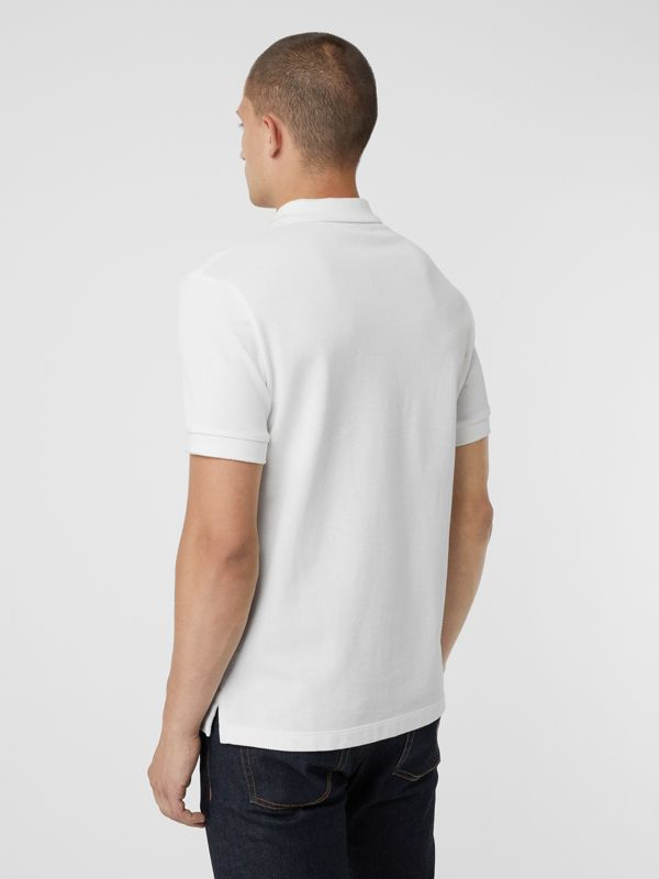Check Placket Cotton Polo Shirt in White - Men | Burberry Australia - cell image 2