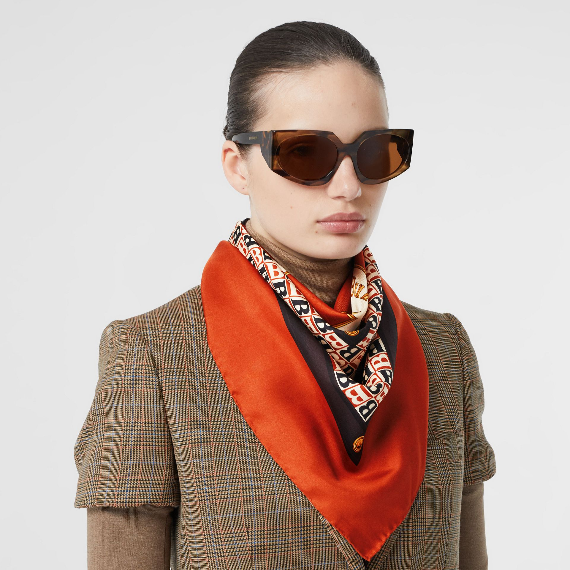 Archive Scarf Print Silk Square Scarf in Bronze | Burberry - gallery image 2
