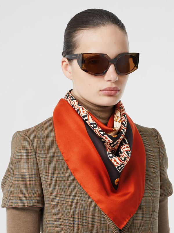 Archive Scarf Print Silk Square Scarf in Bronze | Burberry - cell image 2