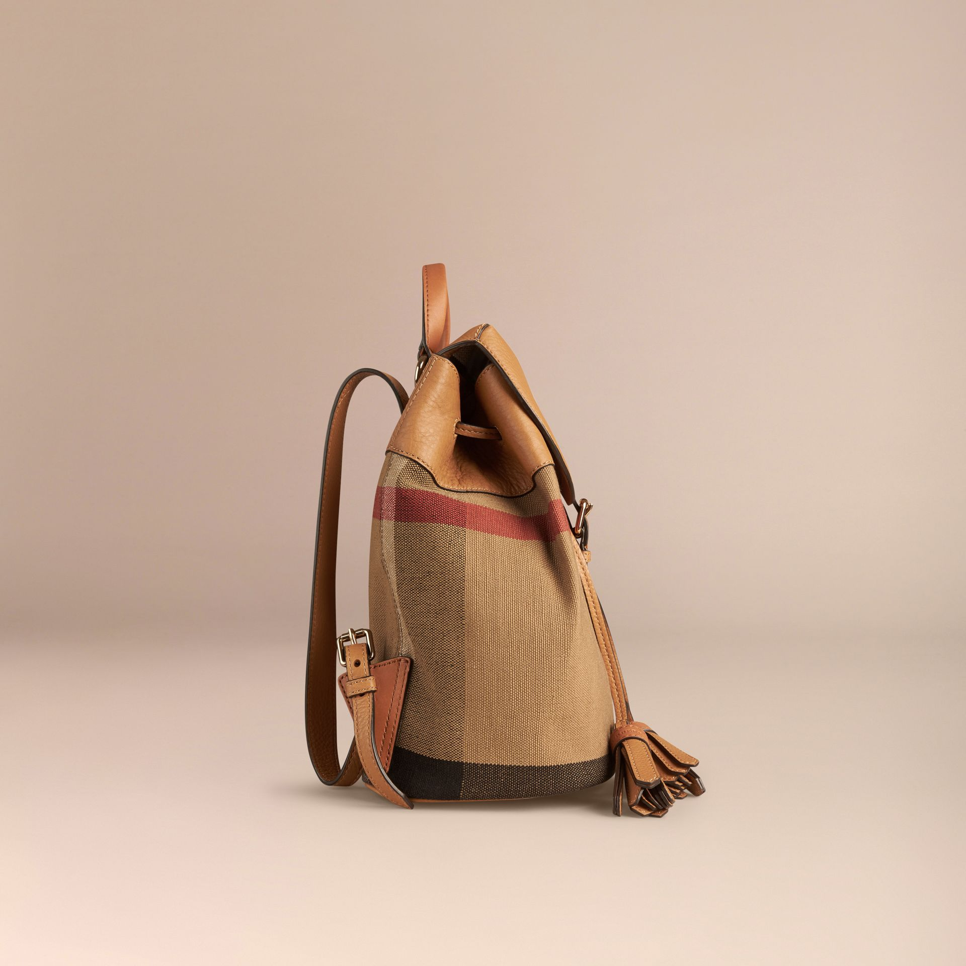 Canvas Check Backpack in Sand | Burberry Australia - gallery image 3